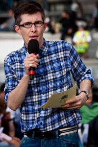 Gareth Malone rehearsing the Trafalgar Square audience in singing part of Bizet's Carmen.